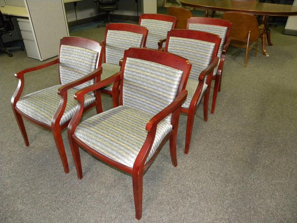 Used Paoli Brand Chesapeake Traditional Guest Chair Blue Fabric W Mahogany Set Of 6