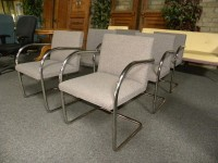 Used Mies van der Rohe Tubular Chrome Brno Chairs by Knoll, Gray fabric