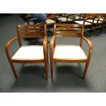 Used Gunlocke Brand Liza Series Slatted Back Guest Side Chair, Oak Finish on Maple
