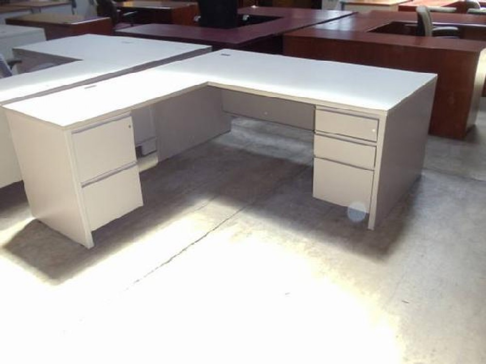Herman Miller L Shaped Double Locking Pedestal Desk With