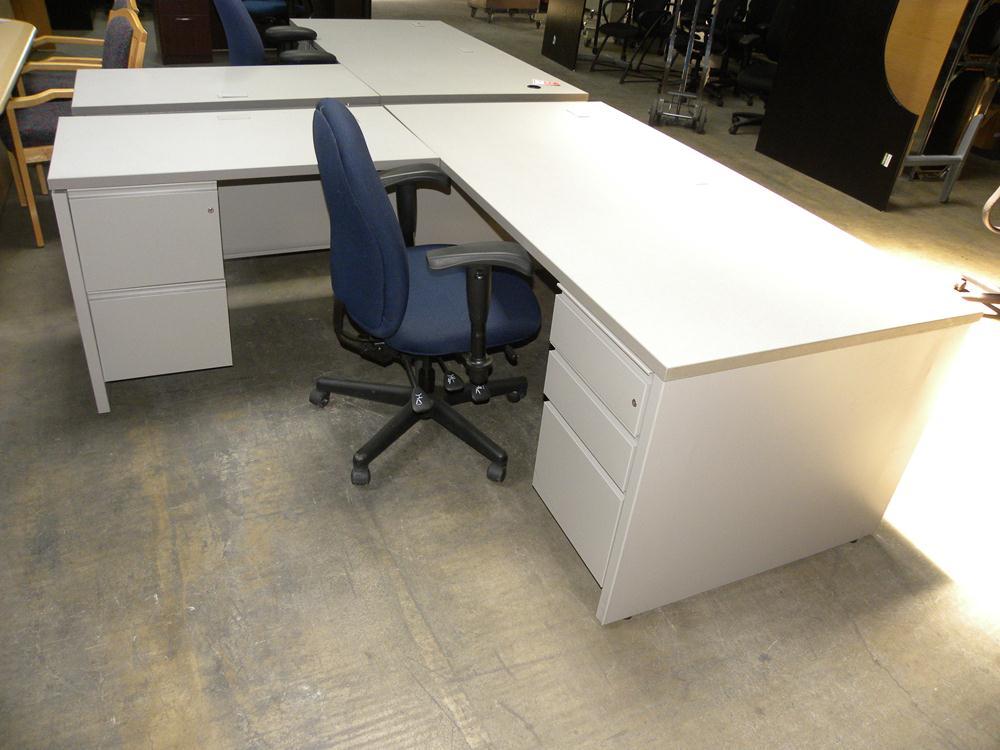 Herman Miller L Shaped Double Locking Pedestal Desk With