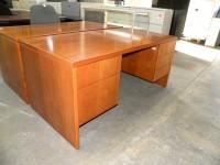 Used Standard Double Pedestal Veneer Desk by Lunstead, Light Cherry
