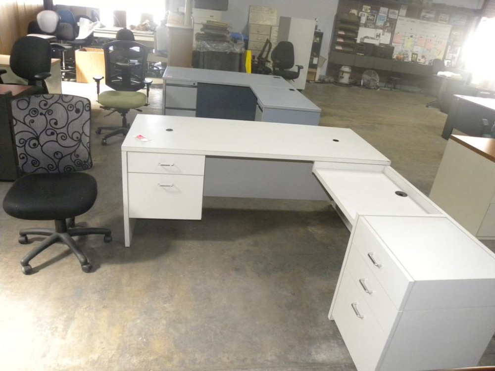 Dual Tier L Shaped Desk With Double Locking Pedestals And Wire Grommets White