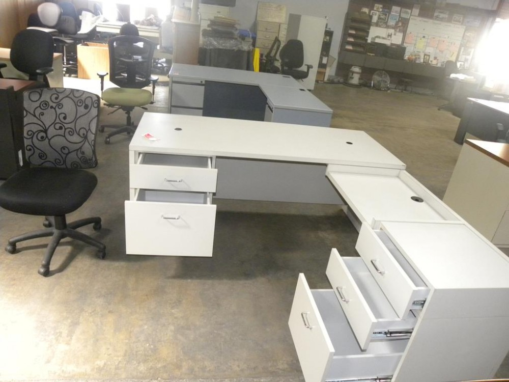 Dual tier l shaped desk with double locking pedestals and White l shaped desk