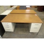 "Used 30""x60"" Metal Desk with Double Pedestals and Laminate Top, White and Walnut"