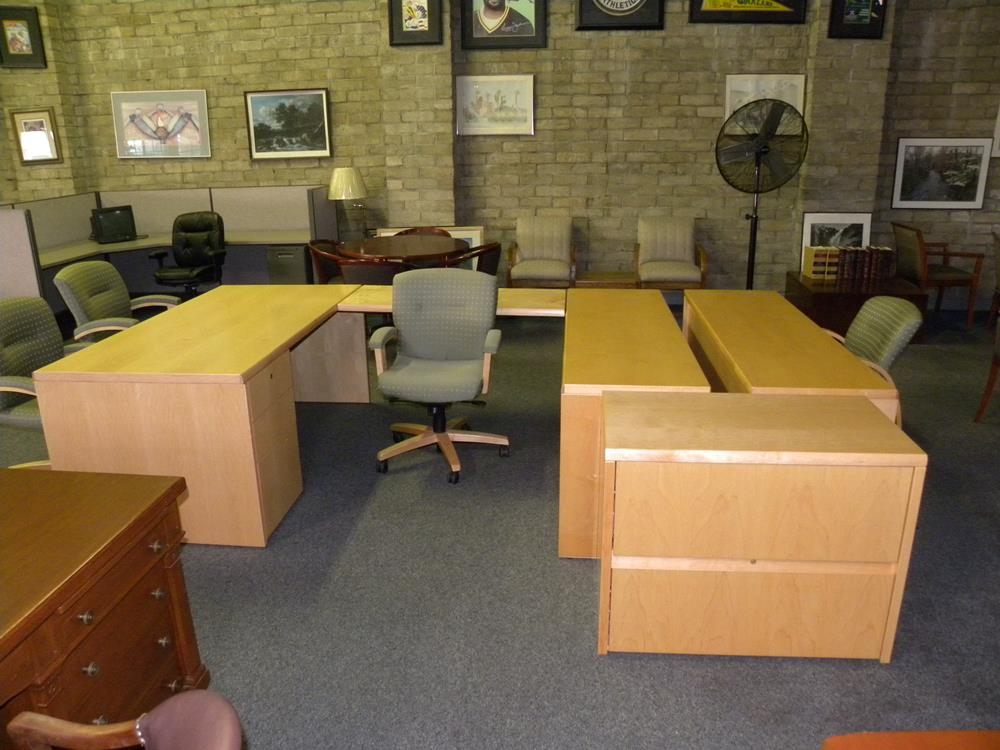 U Shaped Executive Office Suite Desk With Bridge And Double Pedestals Matching Lateral File Credenza Maple Finish