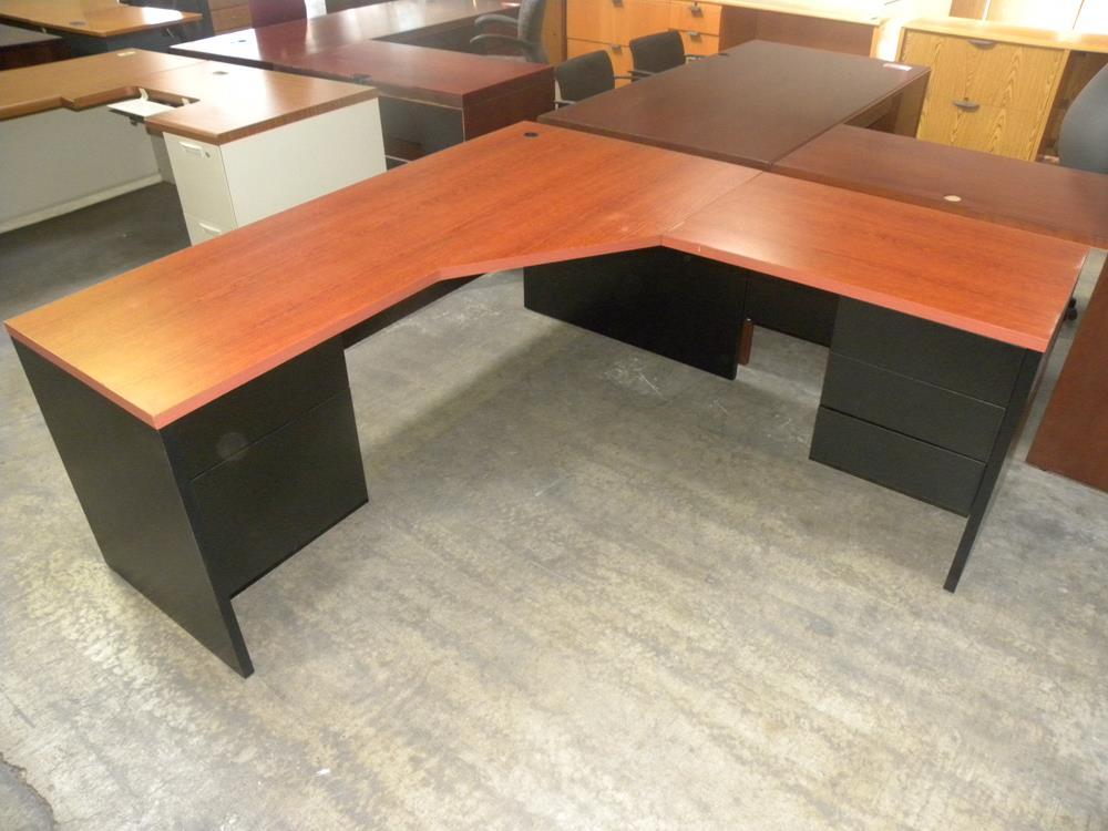 L Shaped Symmetrical 6 39 Desk With Double Pedestals Black
