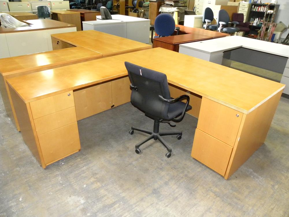used mayline brand realoffice series l shaped veneer executive desk
