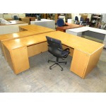 Used Mayline Brand RealOffice Series L-Shaped Veneer Executive Desk with Fluted Edges and Double Locking Pedestals, Maple