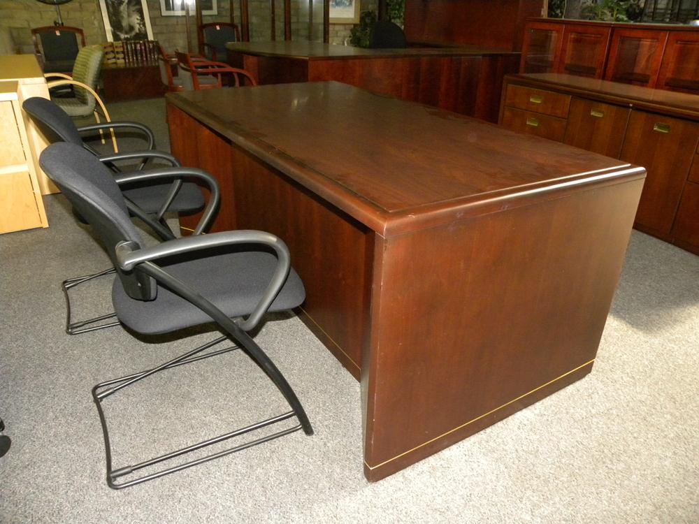 Used Desk And Credenza Set By Ofs Walnut