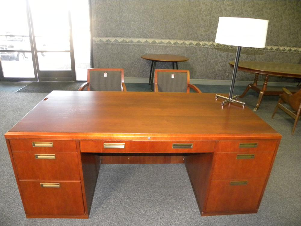 Used American Wood Veneer Desk and Credenza Set by Kimball, Cherry Finish