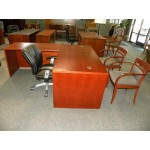 Used L-Shaped Veneer Desk by Jasper, Cherry Finish