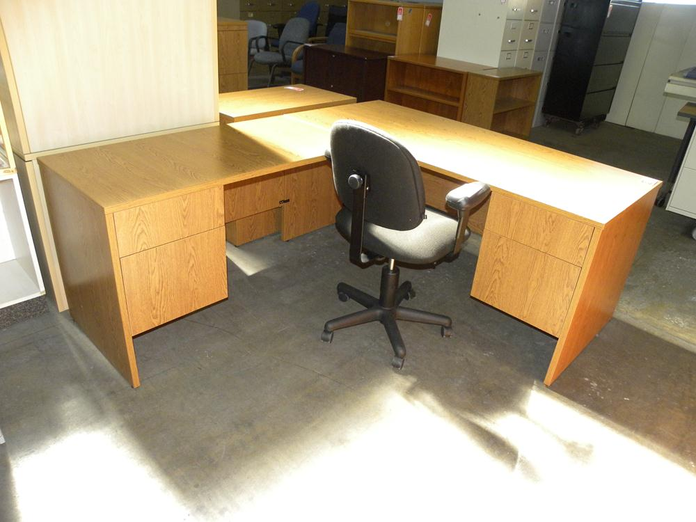 Used L Shaped Laminate Desk by Maverick Oak Finish