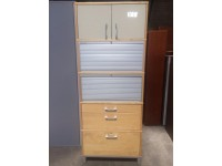 Used Oversize Storage Unit with Locking Roller Doors, Maple