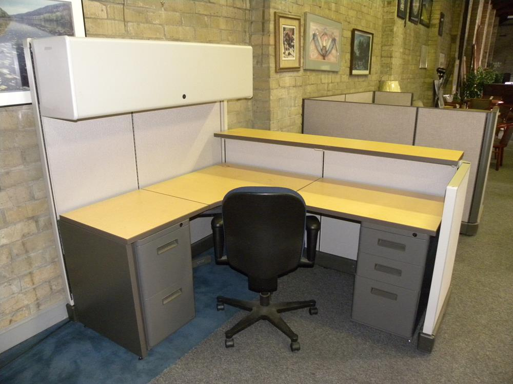 Used Reception Panel System Workstation By Herman Miller With Filing Drawers And Overhead Storage 5x6 67 42