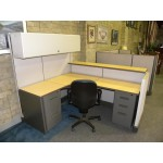 "Used Reception Panel System Workstation by Herman Miller with Filing Drawers and Overhead Storage, 5x6 67"" & 42"""