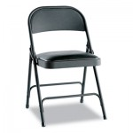 Steel Folding Chair w/Padded Seat, Graphite, 4/Carton, New