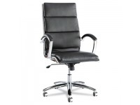 Neratoli Series High-Back Swivel/Tilt Chair, Black Soft Leather, Chrome Frame, New