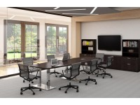 Boat Shaped Conference Table with Palmer House Brushed Steel Bases